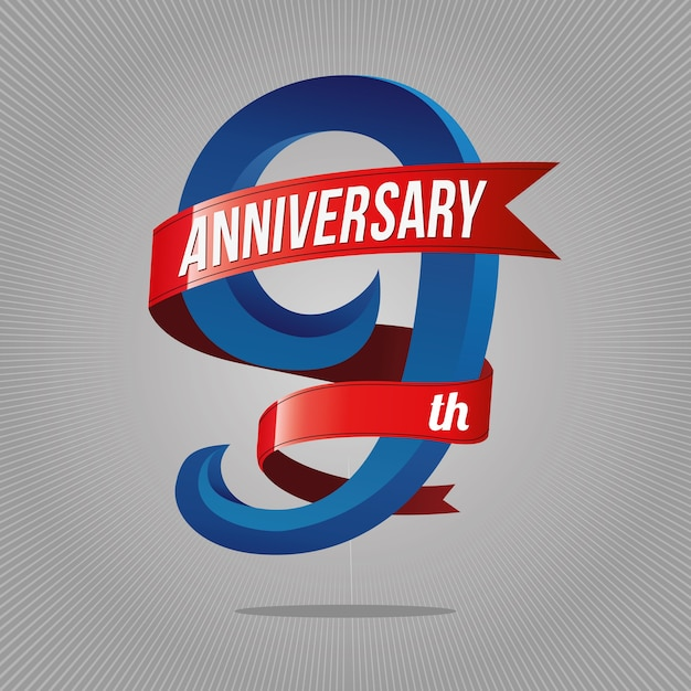 Premium Vector 9 Years Anniversary Celebration Logotype
