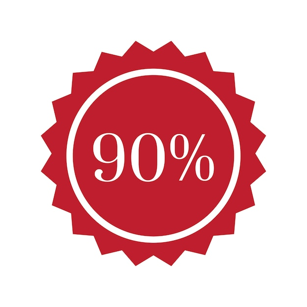 90 percent off badge vector Free Vector