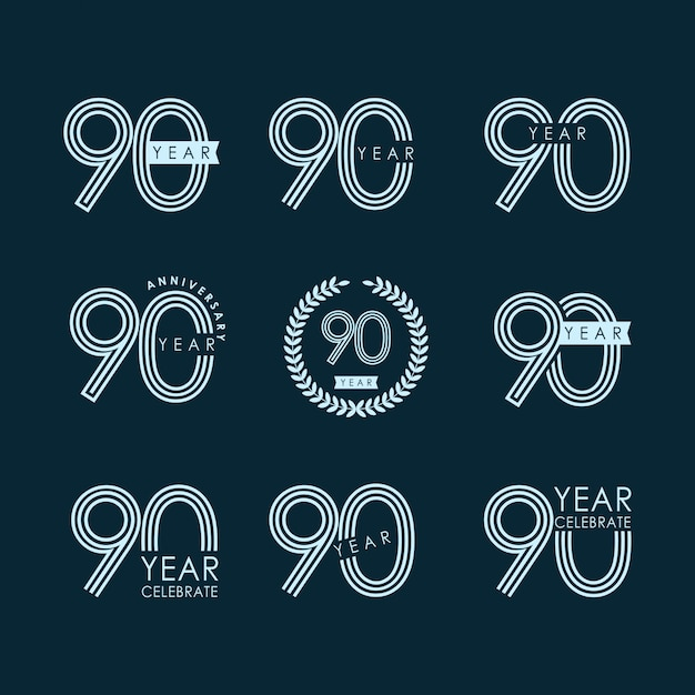 90 year anniversary set celebration vector template design Premium Vector