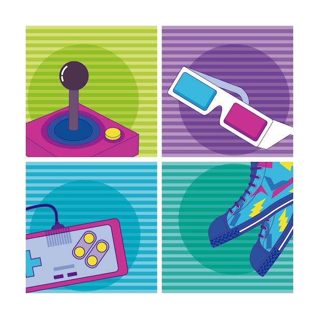 Набор элементов мультфильмов 90-х годов Premium векторы
