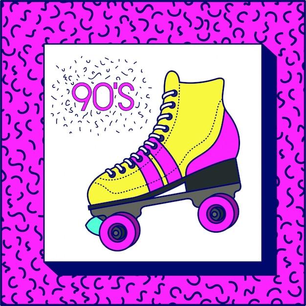 レトロなスケートと90年代のラベル Premiumベクター