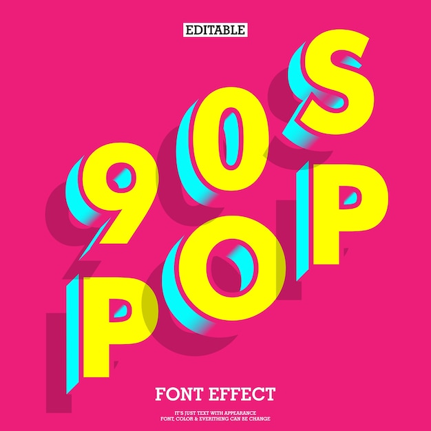 90s Style Font Effect With Simple Modern Look Vector