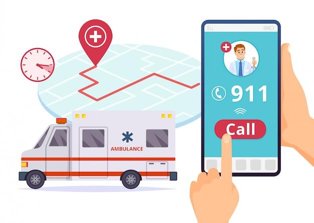 救急車サービス。緊急911病院緊急電話 Premiumベクター