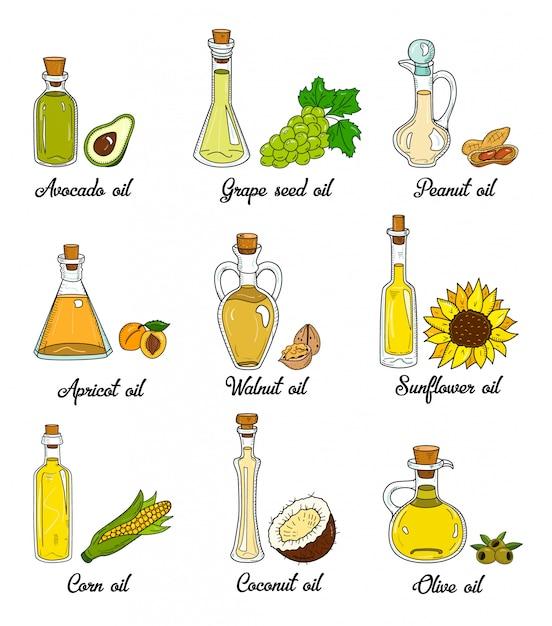 9 растительных масел в симпатичных отрывочных бутылках Premium векторы