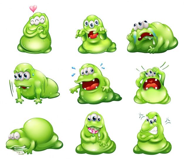 異なる活動をしている9つの緑のモンスター 無料ベクター