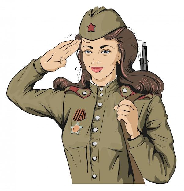 Русская девушка-солдат. женщина-солдат в ретро военной форме. 9 мая день победы Premium векторы