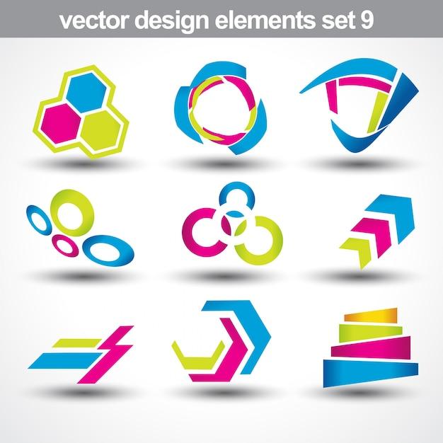Абстрактный набор векторных фигур 9 Бесплатные векторы