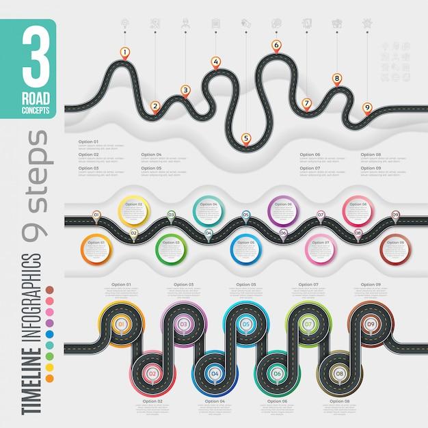 Навигация 9 шагов временной шкалы инфографики Premium векторы