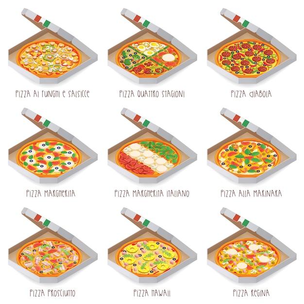 Набор итальянской пиццы в коробках. 9 шт. разные сорта Premium векторы