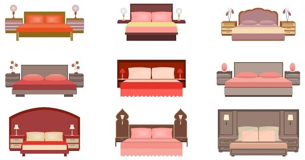 パステルカラーのセットは、ベッドサイドテーブル、ランプ、ヘッドボード付きの9つのベッドコレクションです。 Premiumベクター