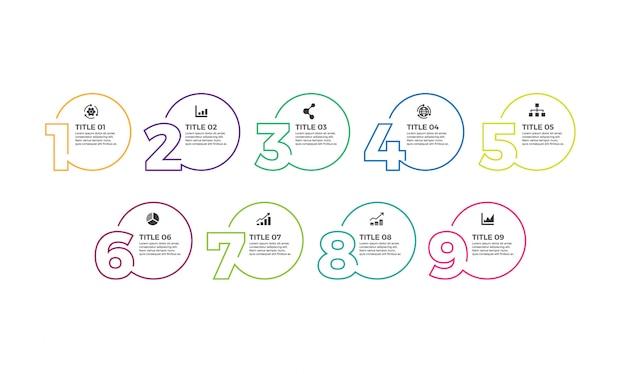 ベクターアイコンと9つの数字のオプションまたはステップを備えたインフォグラフィックデザインテンプレート。 Premiumベクター