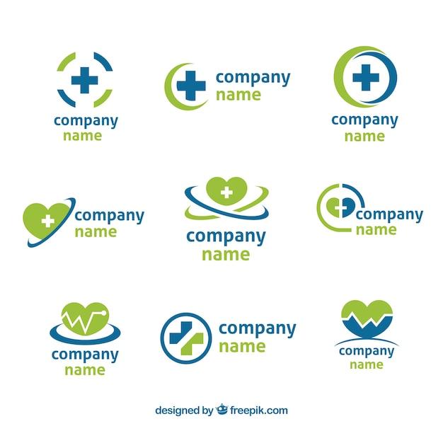 9、緑、青の健康のロゴのセット 無料ベクター