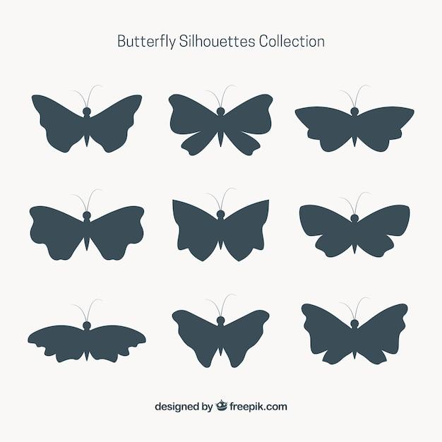 9蝶のシルエットのセット 無料ベクター