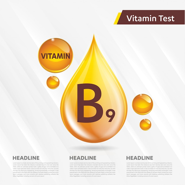 Витамин в9 рекламный шаблон, холекальциферол. золотая капля витаминный комплекс Premium векторы