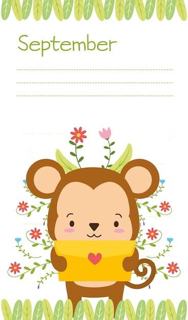 愛の手紙、9月のリマインダー、フラットスタイルでかわいい猿 無料ベクター