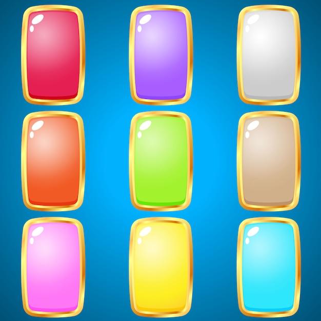 パズルゲームのための長方形9色を宝石。 Premiumベクター