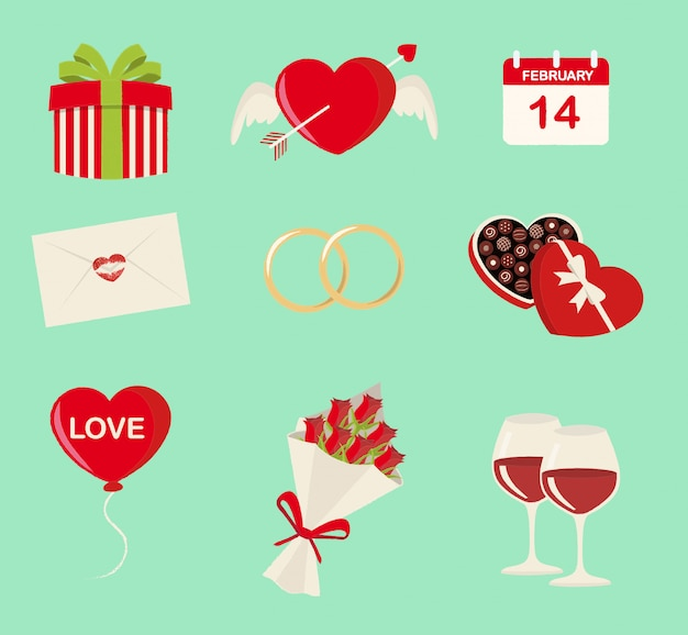 9聖バレンタインのシンボルセット Premiumベクター