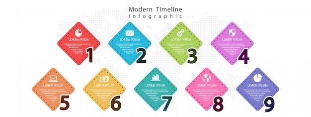 Элементы номеров инфографики 9 вариантов Premium векторы