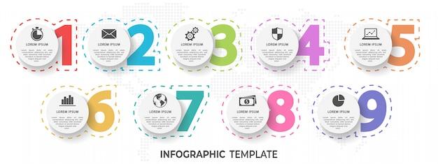 要素番号インフォグラフィック9オプション Premiumベクター