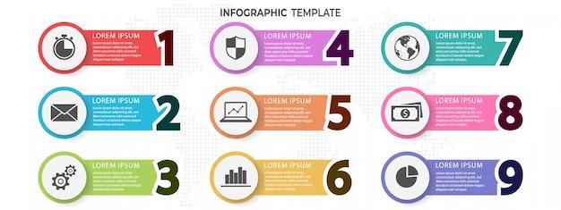 Инфографики шаблон с номерами 9 вариантов. Premium векторы