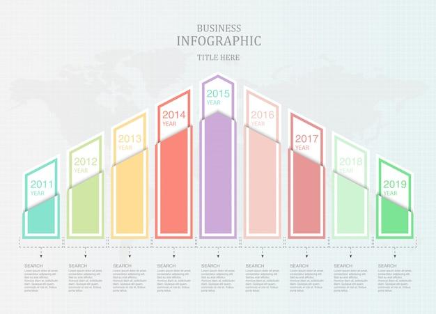 ビジネスのためのグラフ9要素インフォグラフィック Premiumベクター