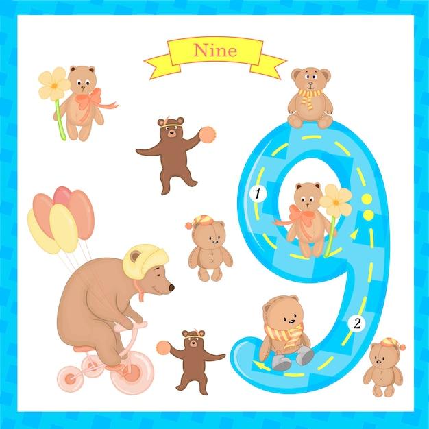 かわいい子供たちフラッシュカード番号カウントして書くことを学ぶ子供たちのための9つのトレース。 Premiumベクター
