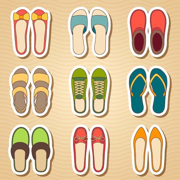 9つの女性靴アイコンのセット Premiumベクター