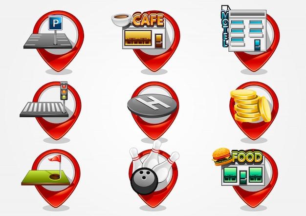 9つの詳細なナビゲーションサイン Premiumベクター