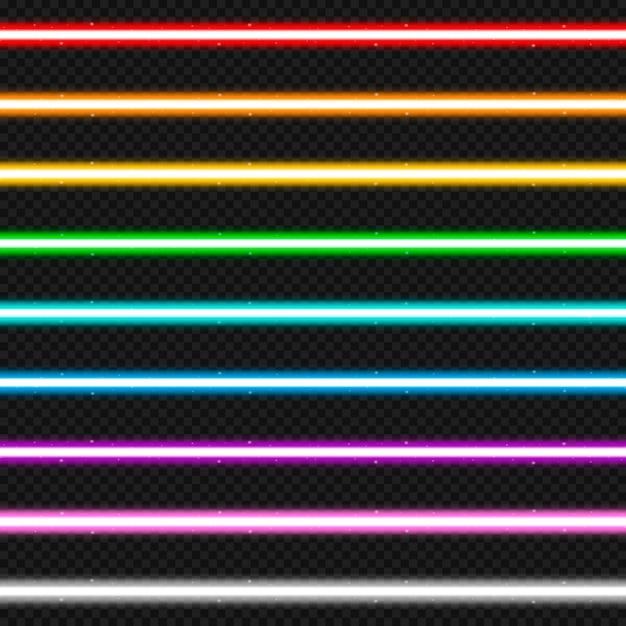 9つのカラフルなレーザー光線のセットです。 Premiumベクター