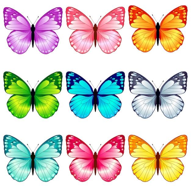 美しい蝶のコレクション、9色 Premiumベクター