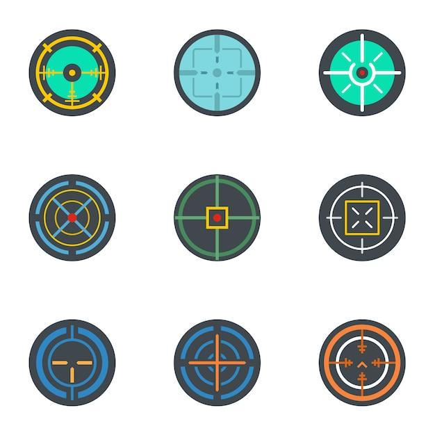 Цель значок набор. плоский набор из 9 прицельных иконок Premium векторы