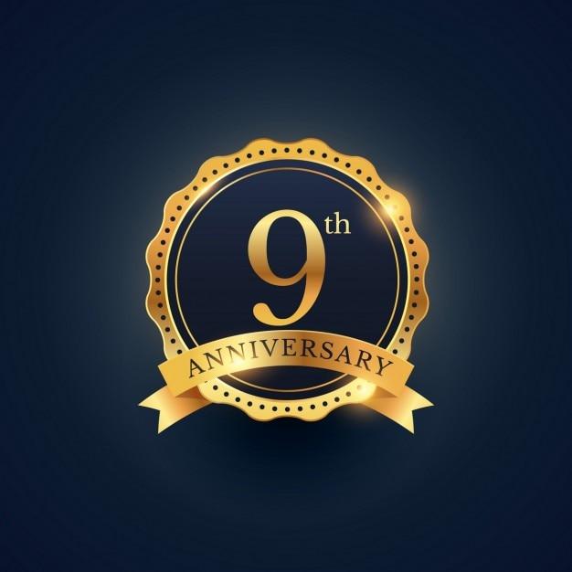 9th anniversary, golden edition Free Vector