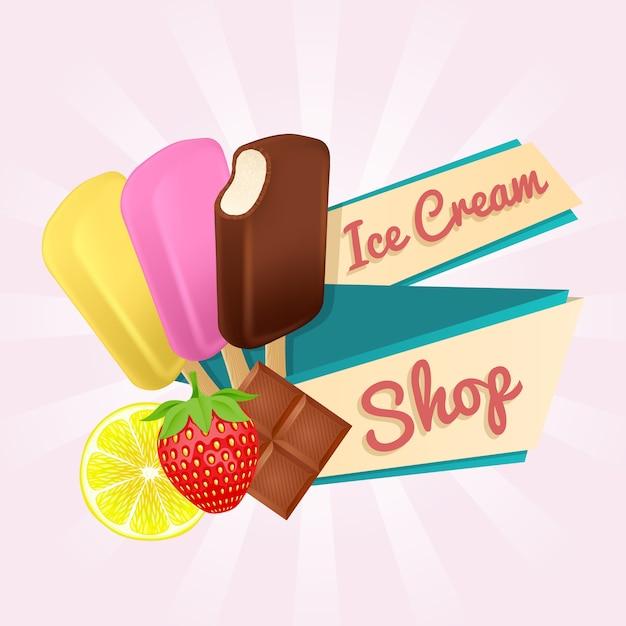 Плакат магазина мороженого. Premium векторы
