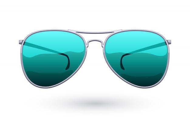 Красочная иллюстрация моды значка солнечных очков авиатора. символ ухода за глазами. Premium векторы