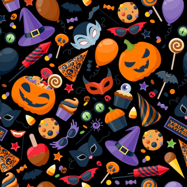 Хэллоуин партии красочные бесшовные векторные иллюстрации. Premium векторы