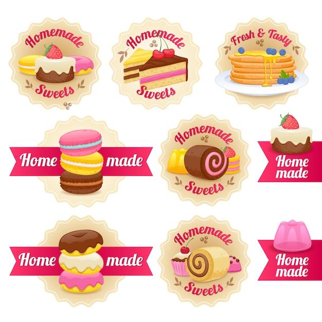 自家製のお菓子は、リボンとバッジのラベルを設定します。 Premiumベクター