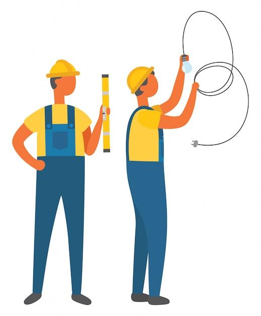 電気の職業、管のベクトルを持つ電気技師 Premiumベクター