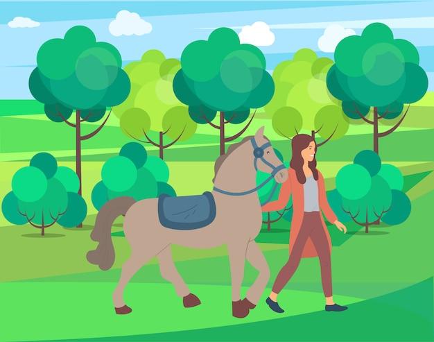 自然、公園または農場の森の女性と馬 Premiumベクター