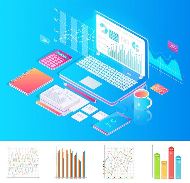 チャートと特別なものを備えたラップトップを備えた職場 Premiumベクター