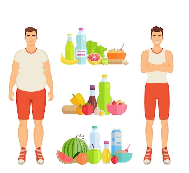 健康食品のポスターとアイコン Premiumベクター