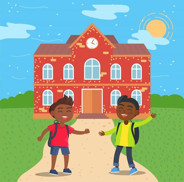 学校の前でアフロアメリカンの学生 Premiumベクター