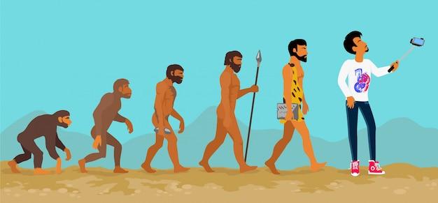類人猿から人間への人間進化の概念 Premiumベクター