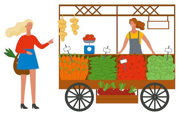 Покупка овощей и фруктов на рынке Premium векторы