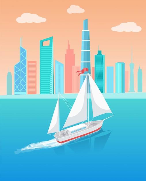 Корабль с белым холстом, плывущий в глубоких водах Premium векторы