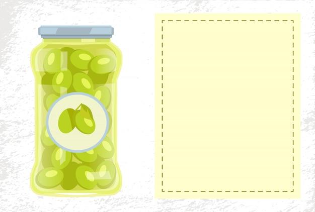 ガラス瓶入りオリーブ保存食ポスター Premiumベクター