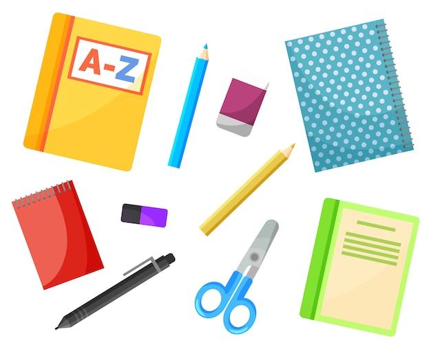 文具用品、学校の教科書、コピーブック Premiumベクター