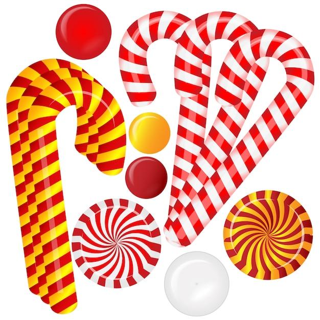 異なる赤と白のキャンディーで設定 Premiumベクター