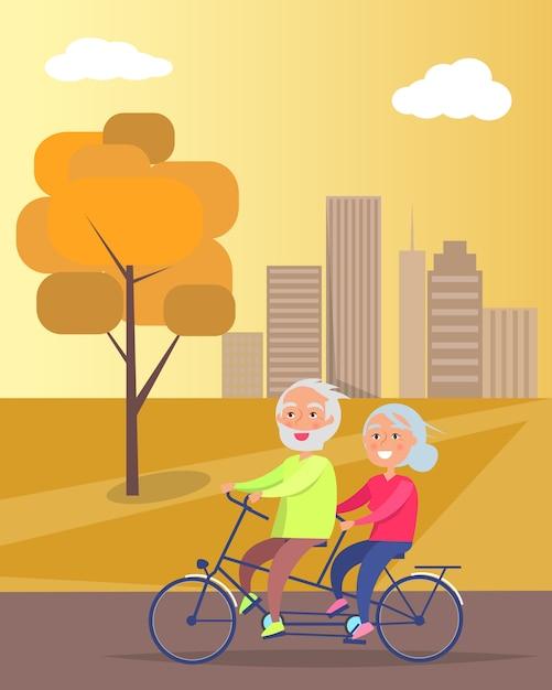 自転車に一緒に乗って幸せな成熟したカップル Premiumベクター