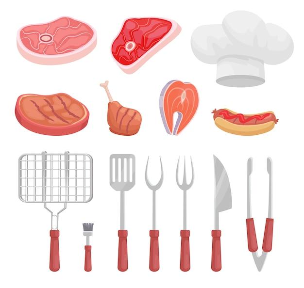 バーベキューセット、バーベキュー機器と肉、アイコン Premiumベクター
