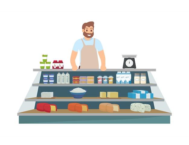 Фермер продажа продуктов иконка иллюстрация Premium векторы